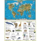 Карта. Мир. Обитатели Земли. (двусторонняя) настольная.